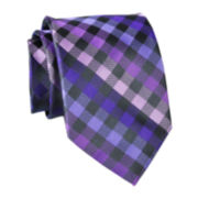 Stafford® Charcoal Gingham Silk Tie