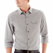 Claiborne Herringbone-Patterned Button-Front Shirt