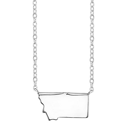 Footnotes® Sterling Silver Montana State Necklace