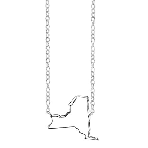 Footnotes® Sterling Silver New York State Necklace