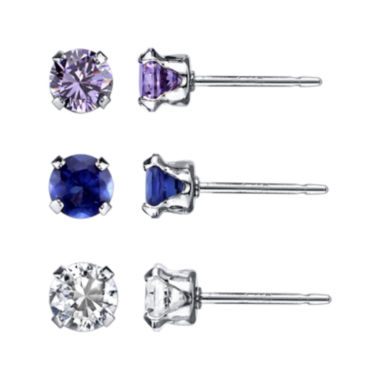 jcpenney.com | Multicolor Cubic Zirconia Sterling Silver 3-pr. Stud Earring Set