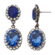 Vieste® Blue Stone Hematite Drop Earrings
