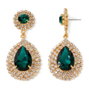 Vieste® Green Stone Gold-Tone Drop Earrings