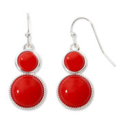 Liz Claiborne® Silver-Tone Red Milgrain Double-Drop Earrings
