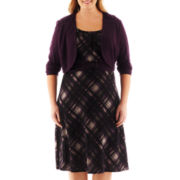 Perceptions Belted Plaid Dress with Jacket - Plus