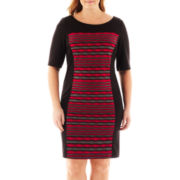 Danny & Nicole® 3/4-Sleeve Print Panel Dress - Plus