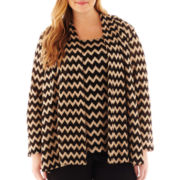 MSK Long-Sleeve Chevron Print Jacket - Plus