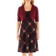 Perceptions Belted Plaid Dress with Jacket - Petite