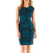Worthington® Sleeveless Piped Sheath Dress - Petite