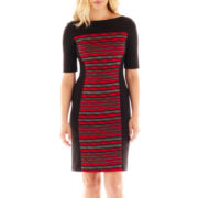 Danny & Nicole® 3/4-Sleeve Print Panel Dress - Petite