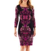 Tiana B. 3/4-Sleeve Print Sheath Dress - Petite