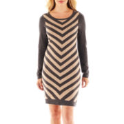 Worthington® Long-Sleeve Chevron Print Dress - Petite