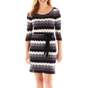 Danny & Nicole® Long-Sleeve Zigzag Belted Sweater Dress - Petite