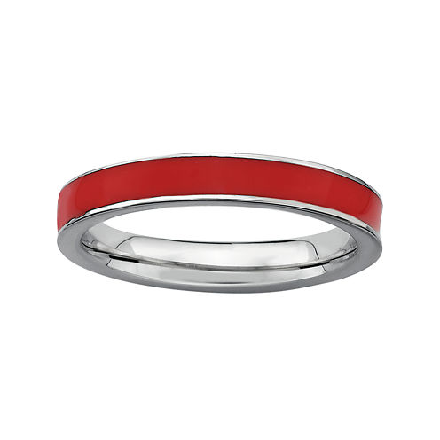 Personally Stackable Sterling Silver Red Enamel Stackable Ring