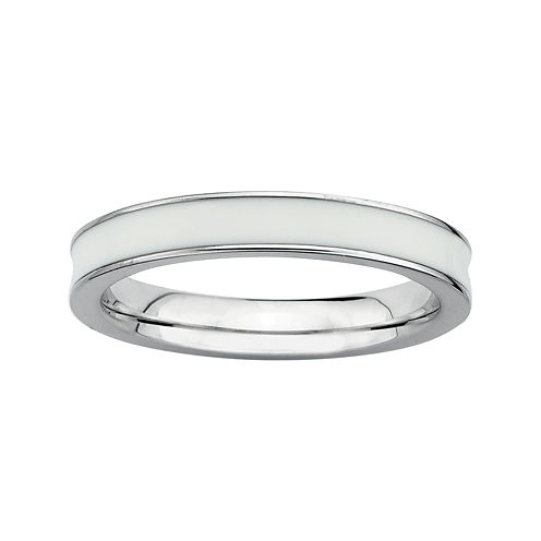 Personally Stackable Sterling Silver White Enamel Stackable Ring