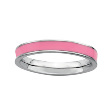 jcpenney.com | Personally Stackable Sterling Silver Pink Enamel Stackable Ring