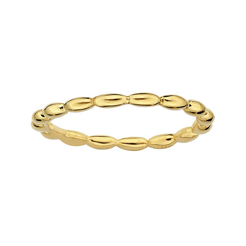 Personally Stackable 18K Yellow Gold Over Sterling Silver 1.5mm Rice Bead Ring