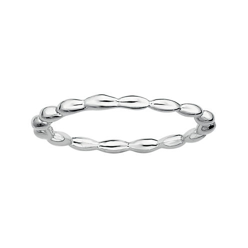 Personally Stackable Sterling Silver 1.5mm Rice Bead Ring