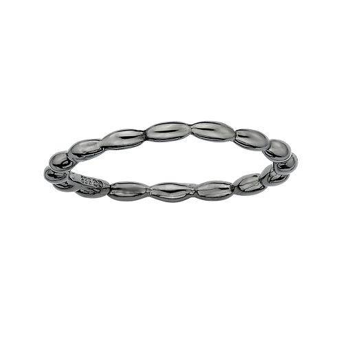 Personally Stackable Black Sterling Silver 3.5mm Rice Bead Ring