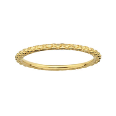 jcpenney.com | Personally Stackable 18K Yellow Gold Over Sterling Silver 1.5mm Criss-Cross Ring
