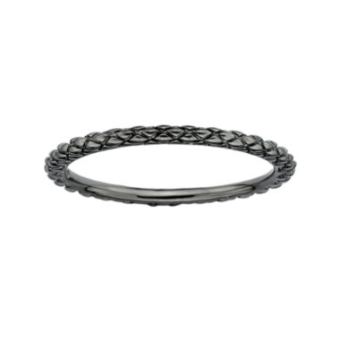 jcpenney.com | Personally Stackable Black Sterling Silver Stackable 1.5mm Criss-Cross Ring