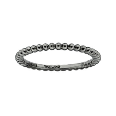 jcpenney.com | Personally Stackable Black Sterling Silver Stackable 1.5mm Beaded Ring