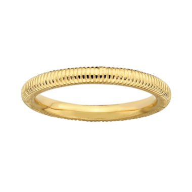 jcpenney.com | Personally Stackable 18K Yellow Gold Over Sterling Silver 3.5mm Ribbed Ring