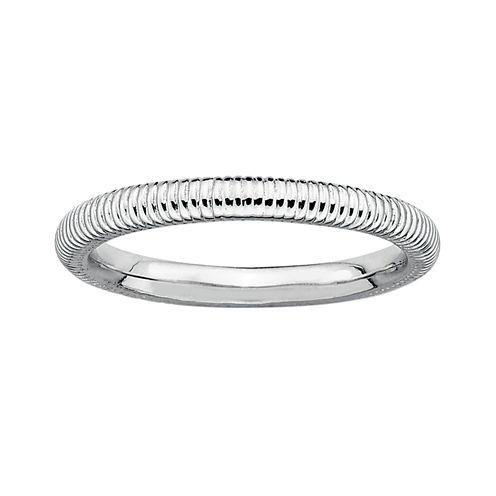 Personally Stackable Sterling Silver Stackable 3.5mm Ribbed Ring