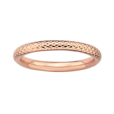 jcpenney.com | Personally Stackable 18K Rose Gold Over Sterling Silver 3.5mm Cable Ring