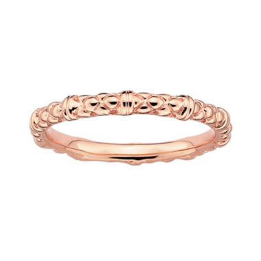 jcpenney.com | Personally Stackable 18K Rose Gold Over Sterling Silver 1.5mm Cable Ring