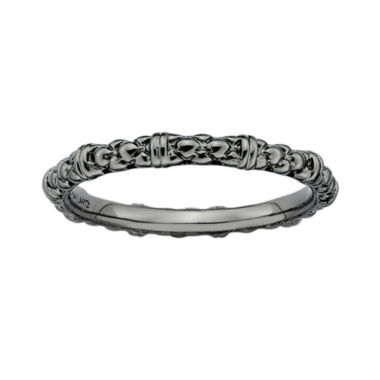 jcpenney.com | Personally Stackable Black Sterling Silver Stackable 1.5mm Cable Ring