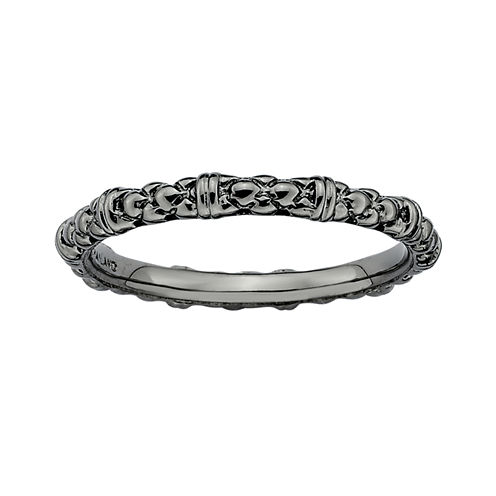 Personally Stackable Black Sterling Silver Stackable 1.5mm Cable Ring