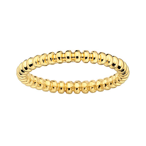 Personally Stackable 18K Yellow Gold Over Sterling Silver 3.5mm Beaded Ring