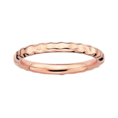 jcpenney.com | Personally Stackable 18K Rose Gold Over Sterling Silver 3.5mm Hammered Ring