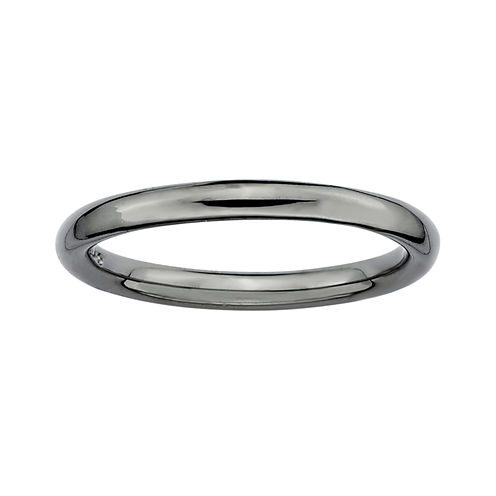 Personally Stackable Black Sterling Silver Stackable 3.5mm Polished Ring