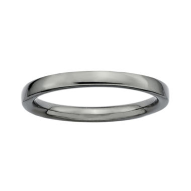 jcpenney.com | Personally Stackable Black Sterling Silver Stackable 3.5mm Square-Edge Ring