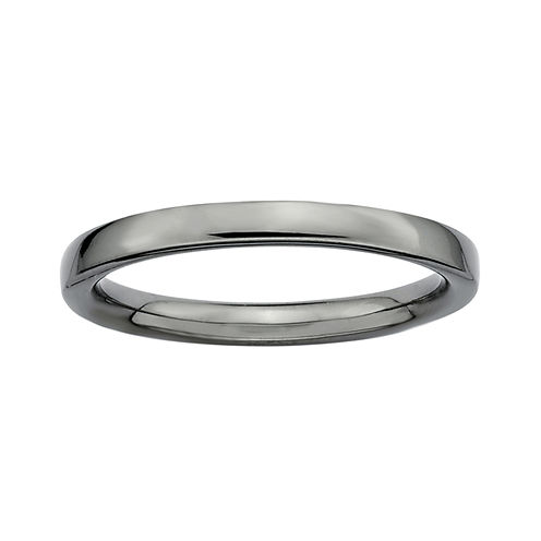 Personally Stackable Black Sterling Silver Stackable 3.5mm Square-Edge Ring