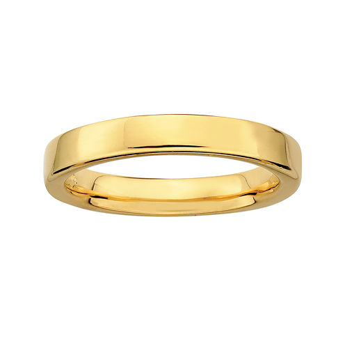 Personally Stackable 18K Yellow Gold Over Sterling Silver 1.5mm Square-Edge Ring