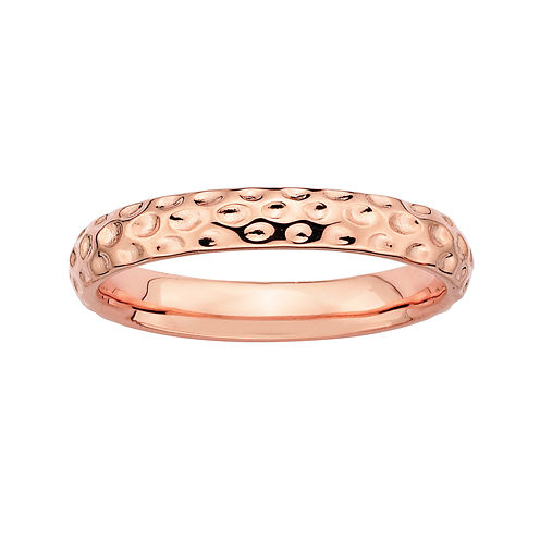 Personally Stackable 18K Rose Gold Over Sterling Silver 3.5mm Pebbled Ring