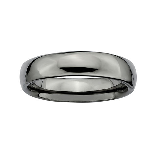 Personally Stackable Black Sterling Silver Stackable 3.5mm Rounded Ring