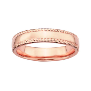 jcpenney.com | Personally Stackable 18K Rose Gold Over Sterling Silver 1.5mm Milgrain Band Ring