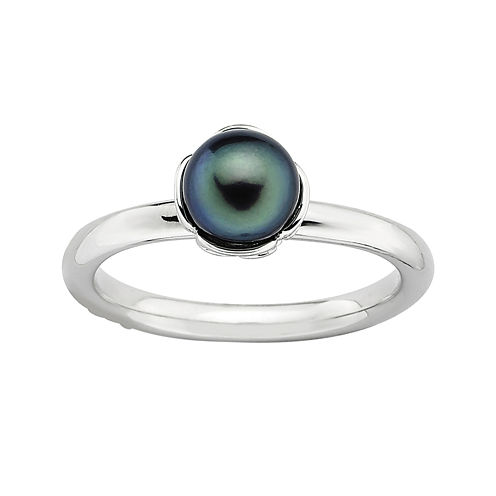 Personally Stackable Cultured Freshwater Black Pearl Sterling Silver Ring