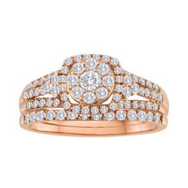 jcpenney.com | 5/8 CT. T.W. Diamond 10K Rose Gold Bridal Ring Set