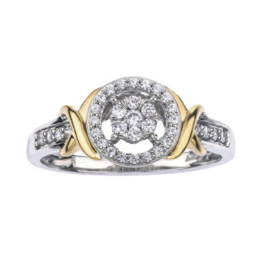 jcpenney.com | 1/4 CT. T.W. Diamond 10K Two-Tone Gold X- Accent Circle Promise Ring