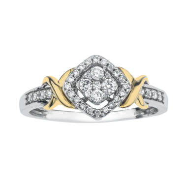 jcpenney.com | 1/4 CT. T.W. Diamond 10K Two-Tone Gold X- Accent Square Promise Ring