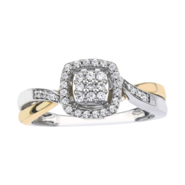 jcpenney.com | 1/5 CT. T.W. Diamond 10K Two-Tone Gold Square Promise Ring