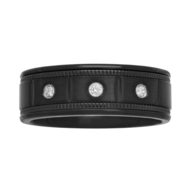 jcpenney.com |  Mens 1/10 CT. T.W. Diamond Black Stainless Steel Wedding Band