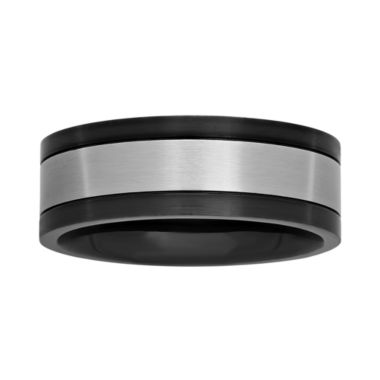 jcpenney.com |  Mens Stainless Steel and Black Ion-Plated 8mm Wedding Band