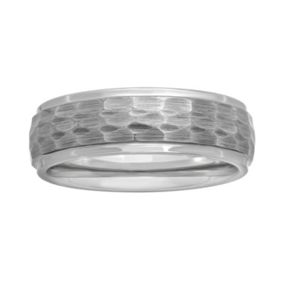 8 mm Tungsten Hammered Band Ring