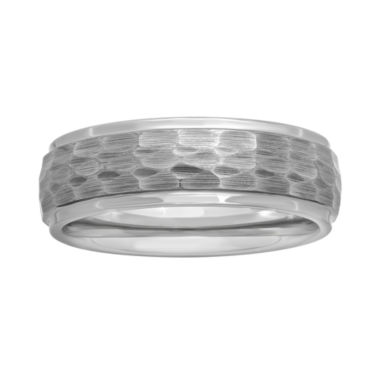 jcpenney.com |  Mens Tungsten Carbide Hammered Wedding Band